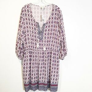 Forever 21 Paisley Print Babydoll Long Sleeve